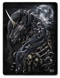 Spiral Direct - Dark Unicorn - fleece deken met dessin van Gothic eenhoorn - 150 x 200 cm