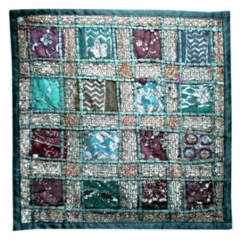 Cushion cover patchwork Indian cotton dark green