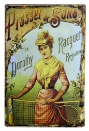 Blikken metalen wandbord Tennis Racquet - 20 x 30 cm