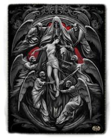 Spiral Direct - Reaper's Door - fleece deken met dessin van Magere Hein en Engelen - 150 x 200 cm