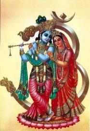 Briefkaart / Hindu wenskaart Krishna en Radha 5