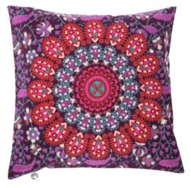 Indiase Katoen Boho Mandala Kussenhoes Plum Rood - 40 x 40 cm