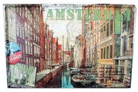 Blikken metalen wandbord Amsterdamse Gracht 20 x 30 cm