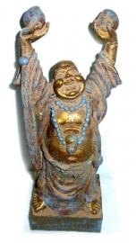 Happy boeddha goud en lichtblauw staand