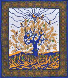 Bedsprei wandkleed Levensboom met maan en vogels blauw goud 210 x 220 cm