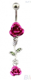 Driedelige navelpiercing roze roos - 5 cm lang
