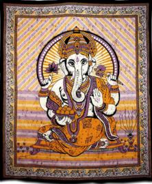 Bedsprei / wandkleed Ganesha mostard burgundy 200 x 220 cm