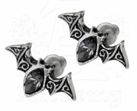 Alchemy Gothic Vampier Vleermuis stud oorbellen - Viennese Nights