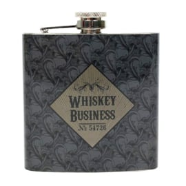 Roestvrije stalen heupfles - Whiskey Business - Cabinet of Curiousities - 11 x 9.5 x 2.5 cm