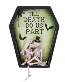 Til Death do us Part Doodskist Skelet Wandbord Gothic Huwelijkskado - 31.5 cm hoog