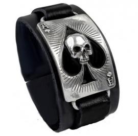 Alchemy UL 13 - leren en pewter armband - Ace of Dead Spades