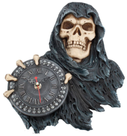 Face of Time - Magere Hein Grim Reaper wandklok - 29 cm hoog