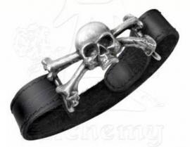 Alchemy UL 13 - leren en pewter armband - Skull & Bones