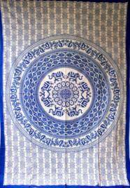Bedsprei Olifanten Mandala blauw wit 150 x 210 cm (1 pers)