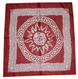 Bandana / altaarkleed / tafelkleed Keltisch Zon rood - 65 x 65 cm