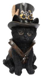 Cogsmith's Cat - steampunk kat in hoge hoed - 18.5 cm