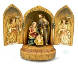 Heilige Familie Drieluik met muziek hg 16,5 cm