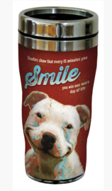 RVS Thermos reisbeker - Hond met een glimlach - Bulldog Smiles - 19,5 cm - 47 cl
