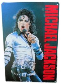 Blikken metalen wandbord Michael Jackson Singer 20 x 30 cm