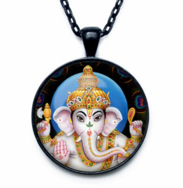 Glazen hanger met ketting Ganesha dessin 2