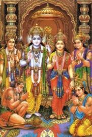 Briefkaart / Hindu wenskaart Rama, Sita & Hanuman