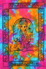 Een persoons bedsprei, wandkleed Ganesha gekleurd - 120 x 220  cm