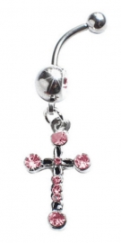 Navel piercing strass kruis roze