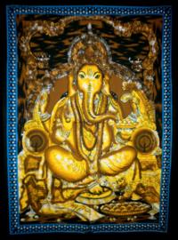 Indiase muurkleed wandkleed Ganesha geel dessin 1 c.a.  80 x 110 cm
