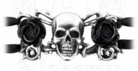 Alchemy UL 13 - leren en pewter armband - Skull & Briar Rose