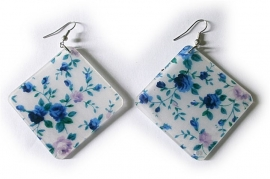 Kunststoffen bloemoorbellen vierkant blauw