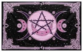 Katoenen bedsprei drievoudige maan met pentagram roze 150cm x 215cm