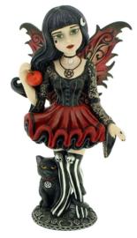 Hazel - Gothic fee beeld met zwarte kat - 16 cm hoog