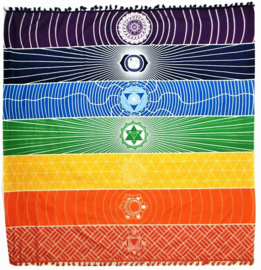 Bedsprei wandkleed tafelkleed vloerkleed strandlaken chakra met symbolen - 150 x 150 cm