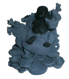 Happy Boeddha op Schildpad met Drakenhoofd en munten - hematiet - 13 cm hoog
