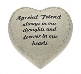 Hartvormige grafsteen Special Friend - 18 cm