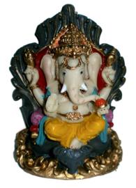 Ganesha met grote rat - 14.5 cm hoog