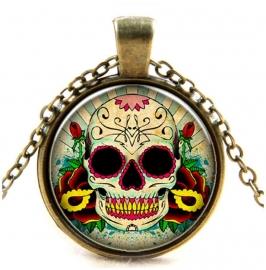 Glazen hanger met ketting Day of the Dead 1