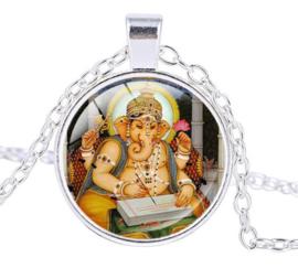 Glazen hanger met ketting Ganesha dessin 9