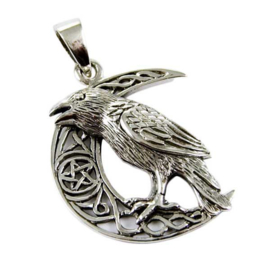 925 zilveren kettinghanger Raven Moon - dessin Lisa Parker 3.2 cm hoog