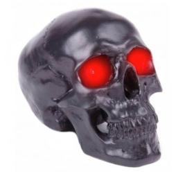 Doodskop led lamp met rode ogen - zilverkleurig - 19 x 14 x 12 cm