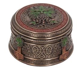 Treasures of the Oak - Keltische Wicca Levensboom bronzen opbergdoos - 9.5  cm doorsnee