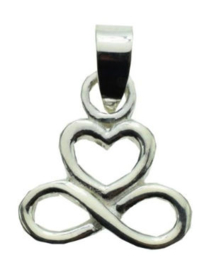 925 sterling zilveren kettinghanger infinity hart - 2 x 1.3 c,