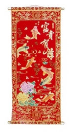Chinese muurscroll rood en goud - Karpers - 80 x 34 cm