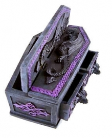 Trinket box coffin with dragons and 2 drawers