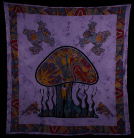 Bedsprei wandkleed Psychodelic Mushroom met kikkers  200 x 220 cm