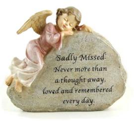 Grafsteen met engel fee cherub met roze jurk - 22.5 X 9 X 19.5 cm