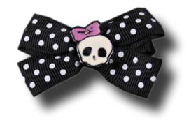 haarschuifje met doodskop en zwartwit polka dots lint 4 cm breed