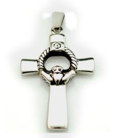 Nekketting 316 roestvrije staal Claddagh met Keltisch Kruis zilver - 4.5 cm hoog