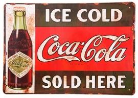 Blikken metalen wandbord Ice Cold Coca Cola - 20 x 30 cm