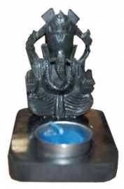 Ganesha tealight holder of soapstone 11 cm tall